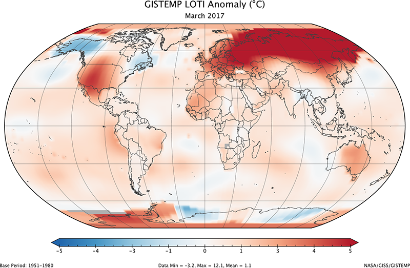 Global map of the GISTEMP land-ocean temperature index anomaly for March 2017, relative to the 1951-1980 average