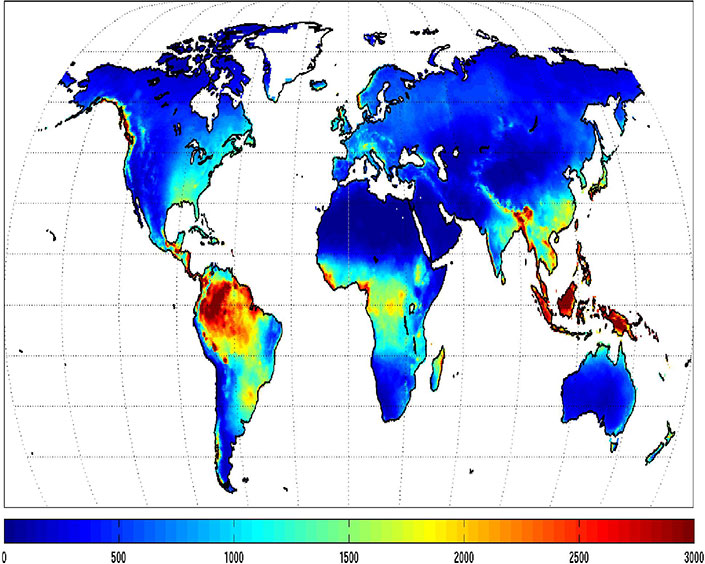 DataGISS AgMERRA And AgCFSR Climate Forcing Datasets - Annual precipitation map us